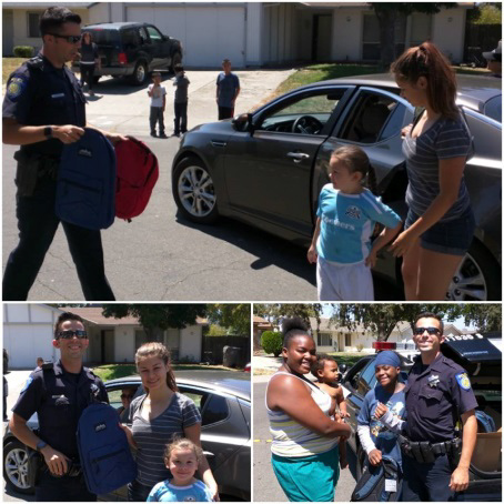 Sacramento Police officers with backpacks