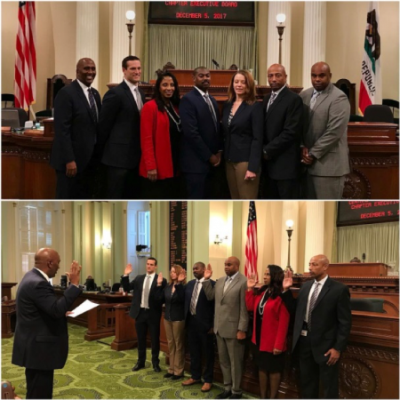 I had the honor of swearing in members of the National OrganizI hation of Black Law Enforcement Executives (NOBLE) Central Valley California Chapter Executive Board on the Assembly floor. Congratulations ladies and gentlemen.