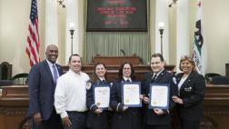 Assemblymember Cooper presents Recognition Certificates on the Assembly Floor to the 2019 Ambulance Association Stars of Life