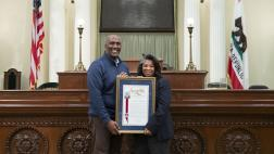 Assemblymember Cooper presents Assembly Resolution to Annica Hagahorn on her retirement.