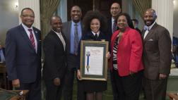 Members of the State Assembly and Assemblymember Cooper honor New Future Farmers of America President, Breanna Holbert on Assembly Floor
