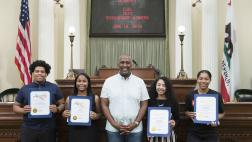 Assemblymember Cooper presents Recognition Certificates on the Assembly Floor to the 2019 CLBC Scholarship Winners