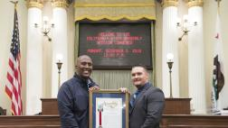 Assemblymember Cooper presents Assembly Resolution to Clint Cooley