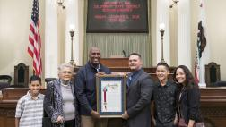 Assemblymember Cooper presents Assembly Resolution to Clint Cooley & Family