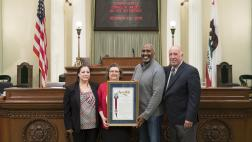 Assemblymember Cooper Presenting Assembly Resolution to Cordelia Valdez on her Retirement from the CA Highway Patrol