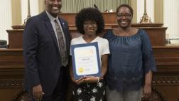 Assemblymember Cooper Presenting Assembly Resolution to Elieza Lewis