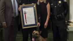 Assemblymember Cooper Honors Officer Jason Miller and his K-9 partner, Officer Blu