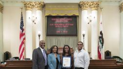 Assemblymember Cooper with Natalie Parker and Parents on Assembly Floor