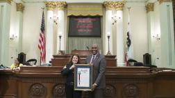 Assemblymember Cooper Presents Retirement Resolution to Officer Cindy Garcia