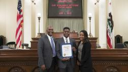 Assemblymember Cooper with Payton Hunter and Mother on Assembly Floor