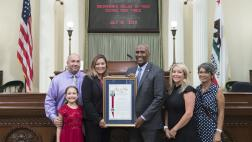 Assemblymember Cooper presenting Assembly Resolution to the Sacramento Valley Hi-Tech Crimes Task Force